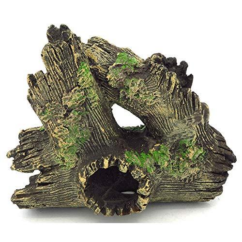 YAOHEHUA Guaridas Piedras hábitats Reptiles y Anfibios Plomo de Resina de Acuario Cabeza de árbol de Reptil Adorno de Madera Muerta de Resina Artificial 20 * 10 * 17 cm