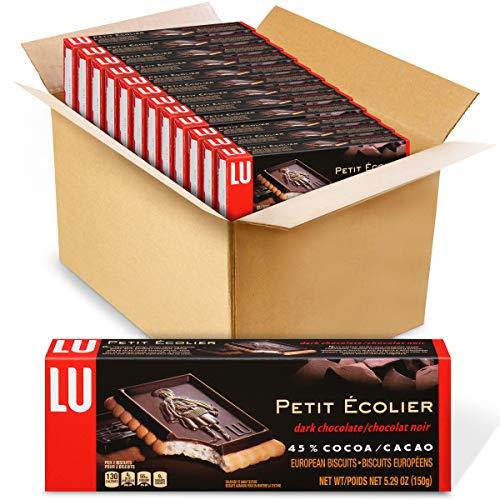 Lu Petit Ecolier European Dark Chocolate Biscuit Cookies, 45% Cocoa, 12 - 5.3 oz Boxes