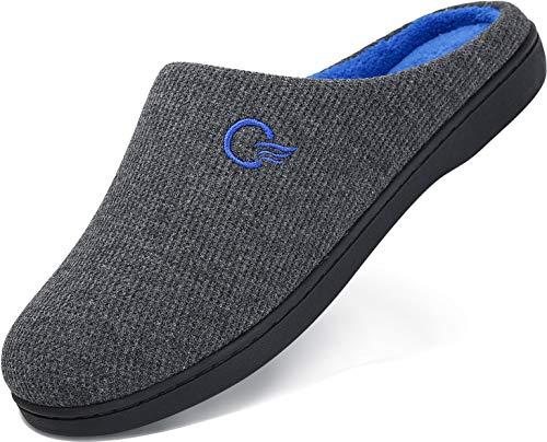 Zapatillas de Casa Hombre Pantuflas Invierno Hombres Memory Foam CáLido Antideslizantes Interior Al Aire Libre Zapatilla de Estar Gris 44/45