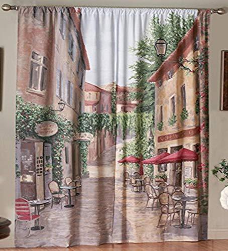 SKL Home by Saturday Knight Ltd. European Café Panel, Multicolored, 72 inches x 84 inches