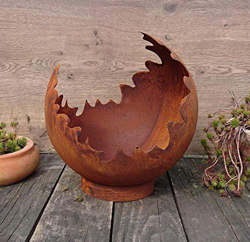 Deko / Feuerkugel / Pflanzkugel 50 cm aus Metall -hergestellt in der EU- Edelrost Rost mit Standring Windlicht Garten Pflanzgefäß Blumentopf