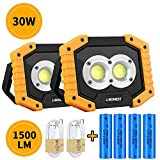 2Pack Rechargeable COB Work Light, Portable 30W 1500Lm Floodlight Waterproof Outdoor Work Lamp