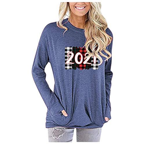 Masrin Mask T-shirt pour femme tendance Hallo 2021 - Imprimé Letter Plaid - Col rond - Manches longues - Sweatshirt ample (XL, bleu)