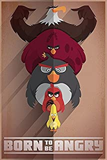 Close Up Póster Angry Birds Born to be Angry/Nacido para Estar Enojado (61cm x 91,5cm) + 2 Marcos Negros para póster con suspención