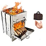 Huike-Tongchuang Lightweight Camping Stove Wood Burning Stoves Potable Folding BBQ Cooker Stainless Steel Backpacking Stove for Picnic BBQ Camp Hiking, Backpacking Stove (Style A)