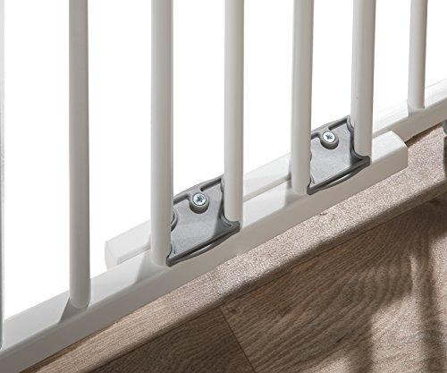 Geuther - Treppenschutzgitter ausziehbar 2733+, für Kinder/Hunde, Schrauben/Klemmen am Geländer, verstellbar, Holz, weiß, 67 - 107 cm, TÜV geprüft - 7