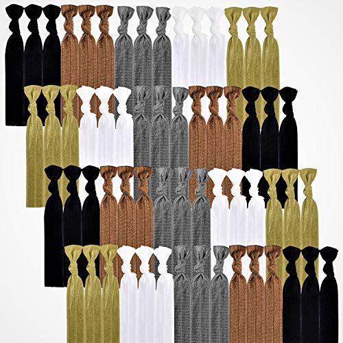 79STYLE 100pcs Elastic Hair Ties Ribbon Hair Bands Women No Crease Ouchless Ponytail Holder Bow Scrunchies Yoga Twist Hand Knotted Fold Over Solid Colors (Neutral Colors)