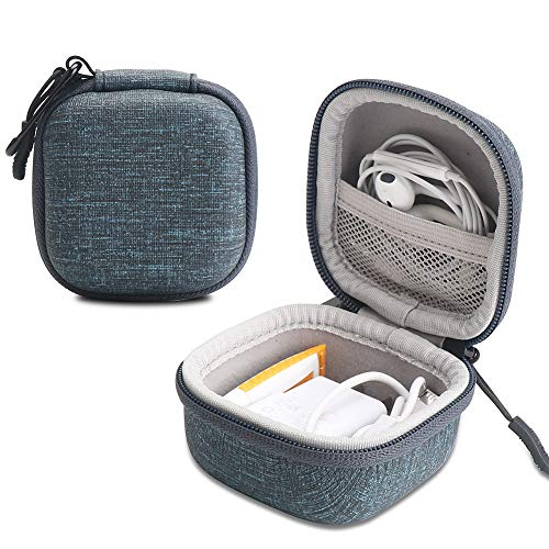 Iksnail Earbuds Carrying Case, Small Zipper Case for Bluetooth Earphone, Portable Storage Earbud Pouch Bag for Headsets/USB Cables (blue05)