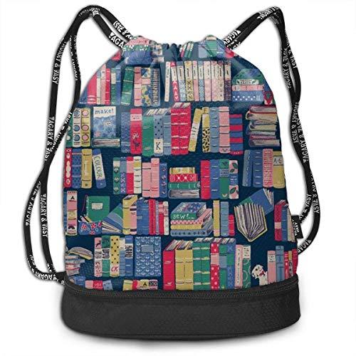 1Zlr2a0IG Bolsa con cordón - Elegante estantería Ligera para Libros, Deportes, Gimnasio, Senderismo, Bolsa de Deporte Ligera y Casual para IR de Compras, Hacer Deporte o Yoga