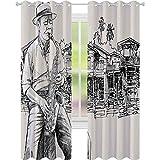 Cortinas de ventana que reducen el ruido, arte con un saxofonista de jazz tocando en la orilla del río palmeras Bungalow Reflection, W52 x L72 Blackout Drape para comedor, Beige Negro