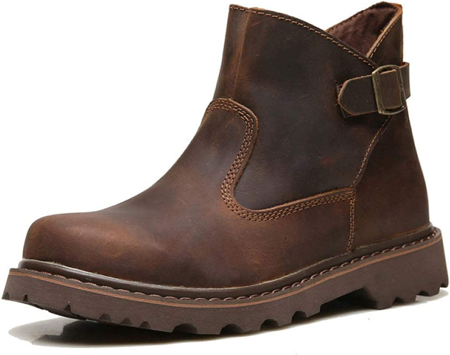 HWG-GAOYZ shoes Men's Martin Boots Ankle Footwear Autumn And Winter Outdoor Retro Buckle Desert Leather Boots Non-slip Fashion,Brown-40