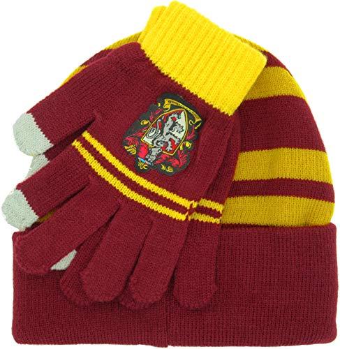 Harry Potter Hut und Handschuhe Erwachsene Größe Haus von Gryffindor Original 100% offizielle Schule der Magie Hogwarts
