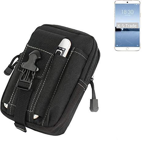 K-S-Trade Gürtel Tasche Für Meizu M15 Gürteltasche Holster Schutzhülle Handy Hülle Smartphone Outdoor Handyhülle Schwarz Zusatzfächer
