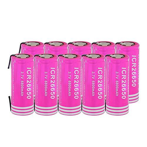hsvgjsfa Batterie agli Ioni di Litio da 3.7v 6800Mah 26650, Batteria Ricaricabile per Citofono con Torcia Frontale 10pieces
