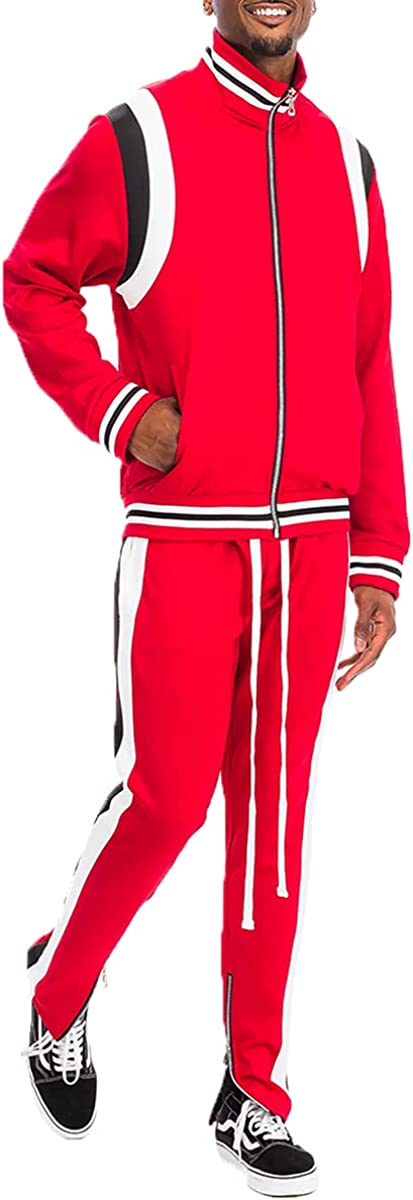 Mens Track Suit 2 Piece Sweatsuit Zipper Brand Cheap Sale Selling and selling Venue Jacket Waist DrawString