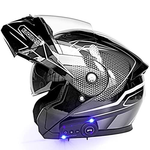 Casco Modular para Motocicleta Abatible Frontal con Bluetooth Incorporado en Visores Duales, Cascos Integrales para Motocicletas Racing...