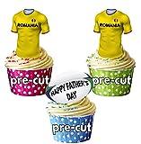AK Giftshop Prédécoupée Pères Roumanie Maillot de Rugby et Balle–Comestibles pour Cupcakes/Gâteau Décorations (Lot DE 12)