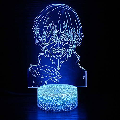 Lámpara de ilusión 3D Luz de noche LED Anime Tokyo Ghoul Juzou Suzuya para decoración de habitación Noche Cool Regalo de cumpleaños Tokyo Ghoul Ken Kaneki Niño niña Regalo de cumpleaños de Navidad