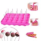 Lollipop Cake Mold Pop Cake Stick Silicon Chocolate Mold 20 Holes DIY Baking Tools Size 22.5 * 18 * 3 cm Circle Diameter 4 cm,Heat Resistant -40 °C to 230 °C with 20 Sticks (Pink)