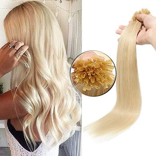 45cm - Extension Capelli Veri Cheratina 100 Ciocche Punte Piene U Tip Remy Human Hair Extension con Cheratina 50g/Set - 60 Biondo Platino