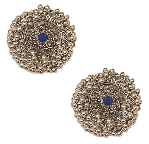 Pahal - Pendientes de plata con forma de jhumka, diseño de perlas de kundan azules, redondos, redondos, de bollywood, para mujeres