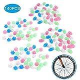 QKURT 140 Stück Fahrradrad Speichen Perlen, Fahrrad Fahrrad Rad Speichen Bunte leuchtende Kunststoff Radfahren Clip Perlen Dekor Fahrrad sprachdekoration