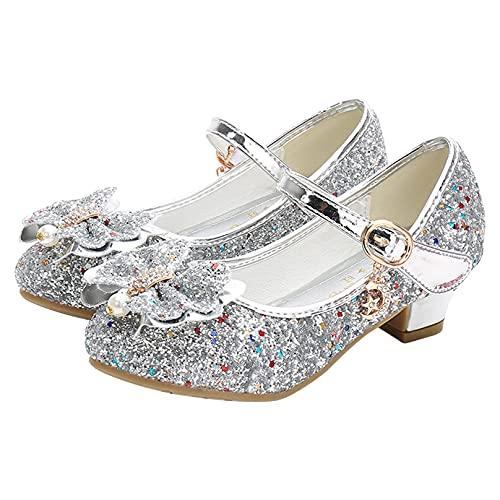 MSemis Zapatos de Tango Latino para Niños Princesa Sandalias Rhinestone Zapatos de Tacón Lentejuelas Verano Zapatillas de Baile para Vestir Fiesta Cumpleaños Boda Infantil 27-32 Plateado 30 EU