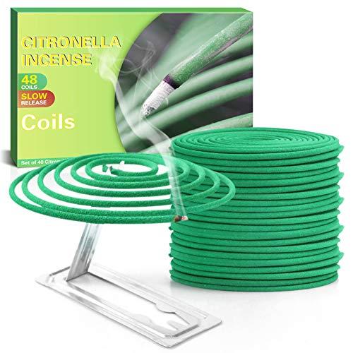 SCENTORINI Spirales à la Citronnelle Idéales pour l'Extérieur comme Les Jardins, Les Balcons et Les Terrasses - 48 Spirales