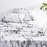 Wake In Cloud - Marble Sheet Set, 100% Cotton Bedding, Black White and Gray Grey Modern Pattern Printed (4pcs, King Size)