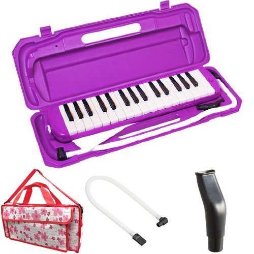 KC 鍵盤ハーモニカ (メロディーピアノ) パープル P3001-32K/PP + 専用バッグ[Girly Flower] + 予備ホース + 予備吹き口 セット