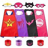 Sinoeem Capa de Superhéroe para Niños - 4 Capas y 4 Máscaras y 4 Slap Pulseras - Ideas Kit de Valor de Cosplay de Diseño de Fiesta de Cumpleaños de Navidad - Juguetes para Niños y Niñas (4pcs - Girl)