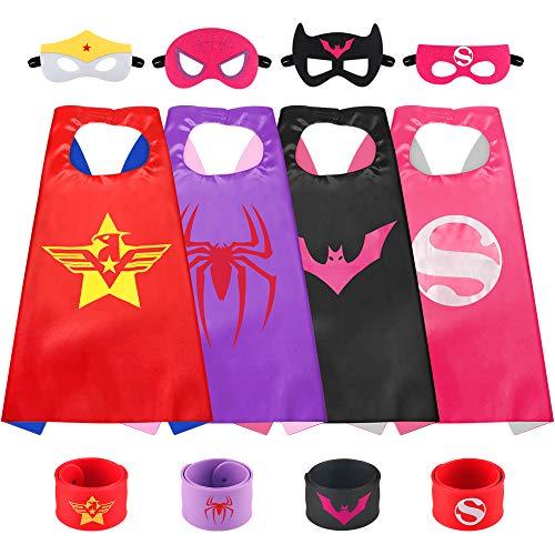 Sinoeem Costumi da Supereroi per Bambini-4 Mantelli e 4 Maschere- Regali di Compleanno - Costumi Carnevale Mantelli e Maschere Giocattoli per Bambini e Bambine (4pcs Capes - Girl)