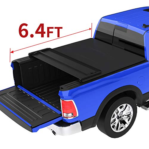 oEdRo Quad Fold Tonneau Cover Soft Four Fold Truck Bed Covers Compatible for 2002-2020 Dodge Ram 1500 ; 2003-2018 Dodge Ram 2500 3500, Fleetside, 6.4' Bed (for Models w/o Ram Box)