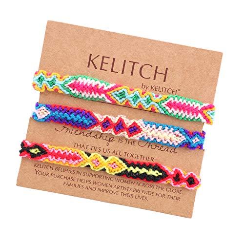 KELITCH 3 PCS Paare Farbe Baumwolle Gewinde Boho Freundschaft Armband Handgemachte Armbänder Armreif Regenbogen Charme Armbänder