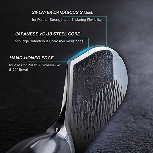 KYOKU Daimyo Series - Japanese VG10 Steel Core Hammered Damascus Blade - with Sheath & Case (8