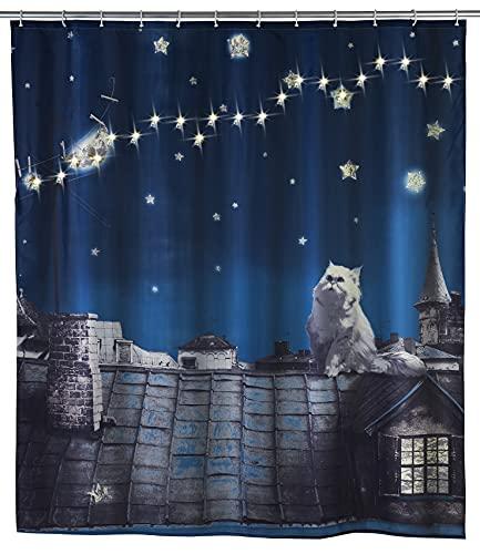 WENKO LED Duschvorhang Moon Cat - waschbar, mit 12 Duschvorhangringen, Polyester, 180 x 200 cm, Mehrfarbig
