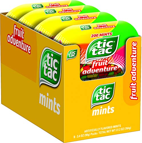 Tic Tac Fresh Breath Mints, Fruit Adventure, Bulk Hard Candy Mints, 3.4 oz Bottle Packs, 8 Count, Perfect Easter Basket Stuffers for Boys and Girls