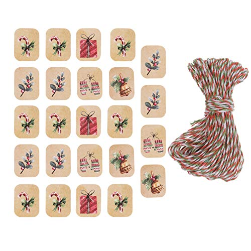 TOYANDONA 250Pcs Weihnachten Kraft Papier Tags Weihnachten Baum Tags DIY Cookie Wrap Etikettenkarte mit Seil für Weihnachten Weihnachten Urlaub Party Gunst Lieferungen