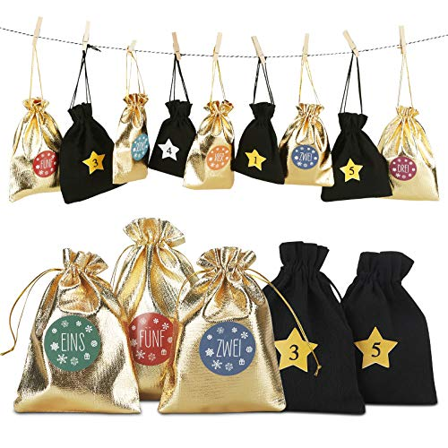 Furado 24 Adventskalender zum Befüllen -Stoffbeutel, Weihnachten Geschenksäckchen mit 2 Zahlen Aufkleber, 24 Mini-Holzklammern und 10m Jute Hanfseile, Weihnachtskalender tüten Geschenkbeutel