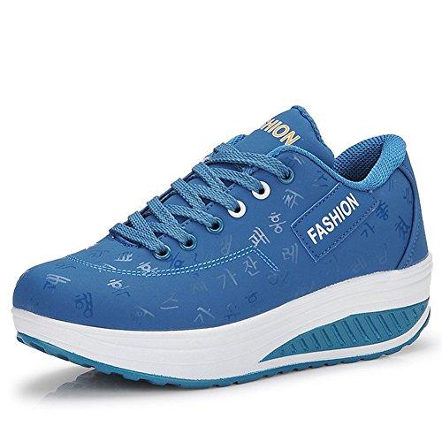 Gaatpot Damen Plateau Sneaker Keilabsatz Wedge Schuhe Leicht Freizeit Sportschuhe Bequem Turnschuhe,Blau,EU35=CN36