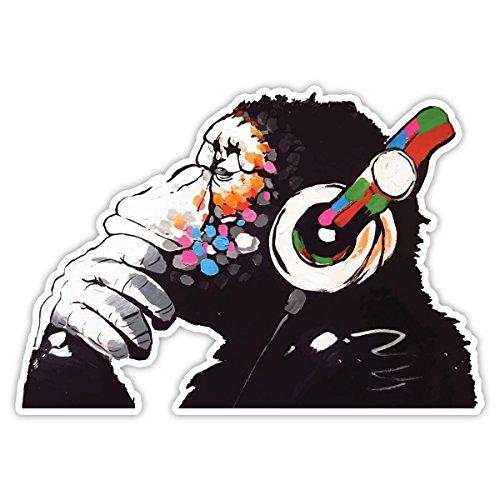 Banksy Thinker Monkey Headphones Design | Wall Art Graffiti Vinyl Sticker | Urban Art Window, Car, Laptop Decal (Small - 5x3.5cm)