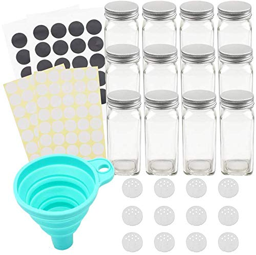 Tebery - Juego de 12 tarros de especias de cristal de 113 g con tapas de metal plateado, tapas de coctelera, embudo ancho y etiquetas