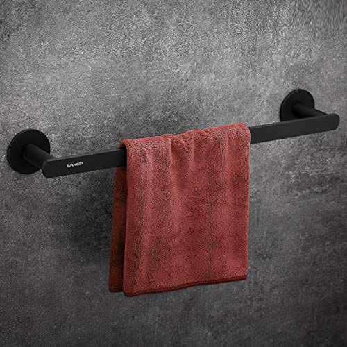 Wangel Handtuchstange Handtuchhalter ohne Bohren 45cm, Patentierter Kleber + Selbstklebender Kleber,Aluminium, Matte Finish, Schwarz