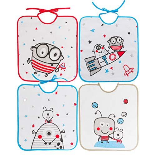 Ti TIN Pack 4 Baberos Impermeables con Forro Vinilo 90% Algodón 10% Poliéster | Baberos con Cierre con Cintas para Bebés de Más de 1 Año, 32x36 cm.