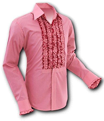 Chenaski 70er Jahre Rüschenhemd Old-Rose, Size M