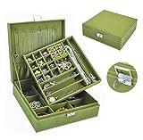 XINGFUQY Large Doble Laye Capacidad Organizador Organizador Pendientes Anillo Collar Reloj Caja de Almacenamiento Mujeres Lápiz Labial Cosméticos Belleza Maquillaje Caja (Color : Green)