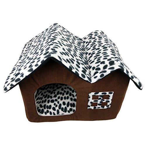 DoubleBlack Cama Caseta Casa Tela para Perros Gatos Plegable Cojines Casitas Mascota Iglu Pequenos Colchon Habitacion Interior Patrón de Bambú
