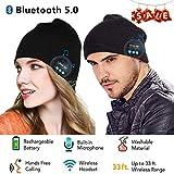 Berretto musicale Bluetooth, cappello lavorato a maglia bluetooth unisex con cuffie stereo e microfono vivavoce per iPhone Samsung Android e iPad (nero)