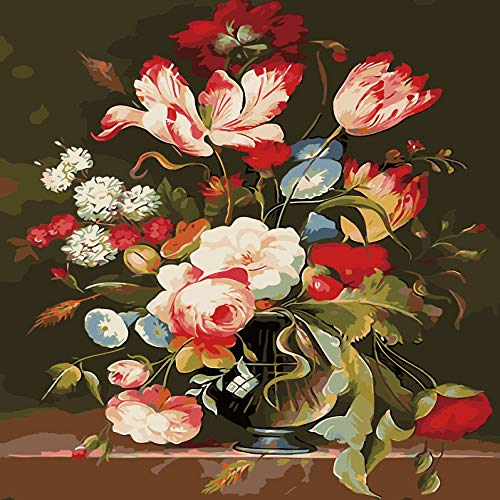 zlhcich Digitale malerei palast Blume Landschaft Wohnzimmer Dekoration malerei System Q004-20 rahmenlose 50 cm * 60 cm