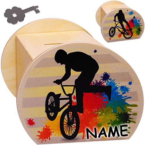 alles-meine.de GmbH Holz - Sparbüchse - Fahrrad / Trial BMX Bike - E-Bike - Schlüssel & Schloß - inkl. Name - groß - 11,5 cm - stabile Spardose - Sparschwein - abschließbar Perso..